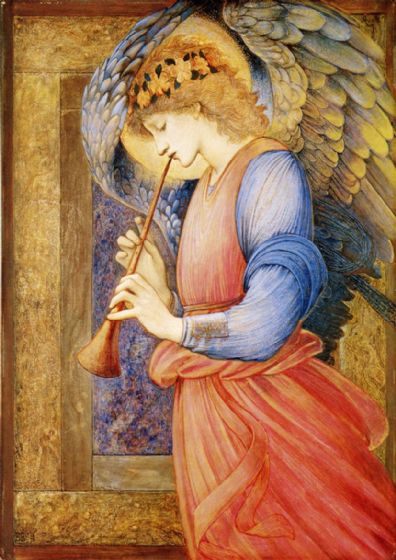 Burne-Jones, Sir Edward Coley: An Angel Playing a Flageolet, 1878. Fine Art Print/Poster (450)